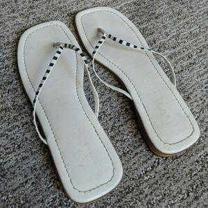 Jill Sander Leather White/Black Sandal